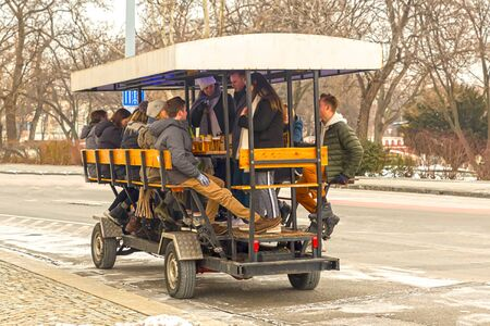 beer bike special transport merry party movement movement teamwork movement walk city center. Budapest Hungary February 2018