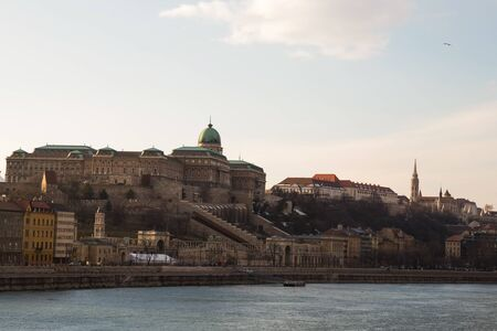 royal palace buda on a high hill fishing bastion the historic center of the city on the banks of the Danube. Hengry Budapest March 2018