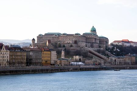 royal castle buda part of the complex fishing bastion on the banks of the Danube River famous place. Hungary Budapest March 2018