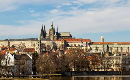 Prague Castle residence of the President of Czech Republic complex of buildings royal palace cathedral of the holy vita museums sights of Prague. Czech Republic Prague March 2017