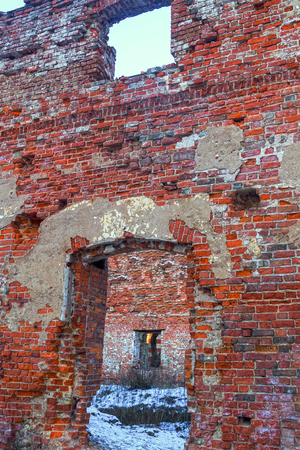 ruins brick house ruined window door dips remained only the outer walls in the center of the wasteland snow