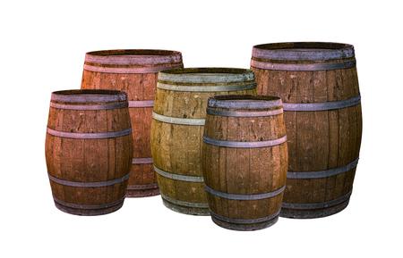 oak barrel dark brown with metal rings set winery design base on white background set drink whiskey