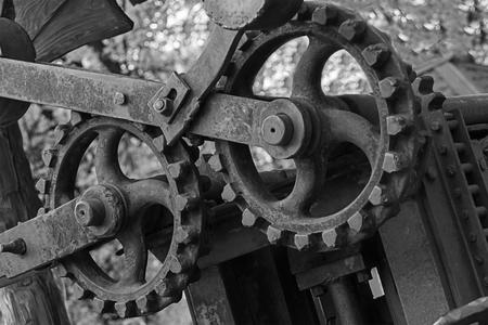 element detail cogwheel gray toned grunge background design base engineering technology old engineering mechanism shaft