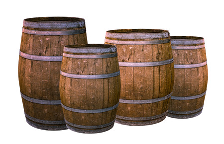 oak wooden barrel metal rings silver group of vessels holding wine whiskey on white background winemaking design Reklamní fotografie
