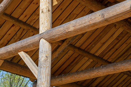 round beams construction building design shed high roof wooden boards