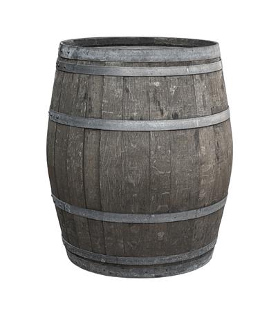 Barril de roble uno sobre un fondo blanco entonado la producción de vino gris tintura de whisky añejo para dar sabor Foto de archivo