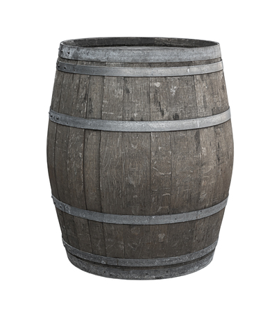 oak barrel one on a white background toned gray wine production aged whiskey tincture of spirits to give flavor Imagens