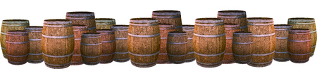 barrel oak brown winemaking set panoramic potter isolated background. Barrel collection big small scotch extract 版權商用圖片