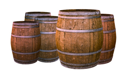 old oak barrels alcohol aging whiskey impregnated with wine giving a unique taste traditional production of the winemaker Foto de archivo