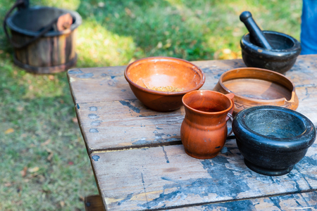 set clay dishes natural eco pair of plates deep bowl mortar black jug herbalist counter