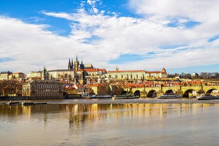 Czech Republic Prague March 2017. Prague Castle sights of the old city of Karlov Bridge across the Vltava river famous government palace