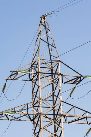 electric pole high-voltage transmission outdoor outdoor air. High voltage tower Archivio Fotografico