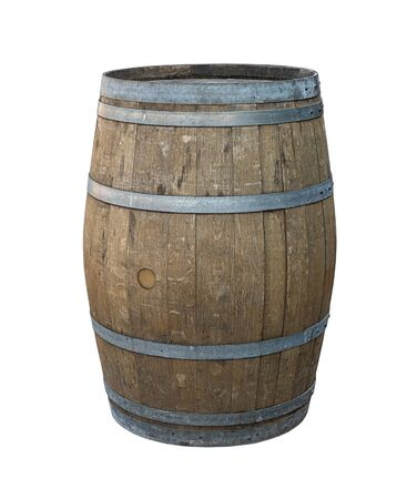 wooden oak barrel with steel hoops gray, wooden old weathered classic technology wineries