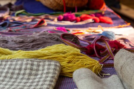 bright yellow wool yarn and fabric checkered material set clothing repair and needlework kit