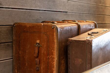 luggage old weathered suitcase large leather travel design Banco de Imagens