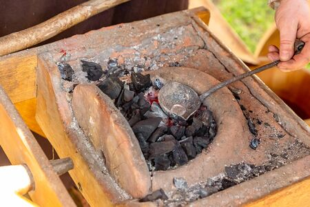 clay horn burning coals making weapons bullets musket casting traditional production
