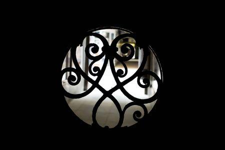 view city iron window grille wrought openwork. Dark dungeon window grill