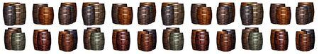 panorama set barrel oak winemaking base gray brown vertical two rows white background