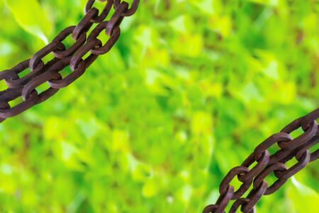frame border chain old rusty rings grunge parallel on light green background