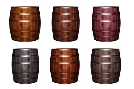 set oak wooden barrel old weathered pattern wine white background