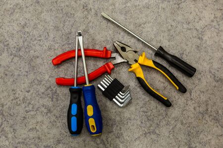 pile of hand tools assortment screwdriver pliers base close-up work tool 스톡 콘텐츠