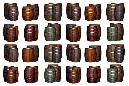 pattern wooden wine barrel brown gray set base white substrate. Wine-making oak barrels 스톡 콘텐츠