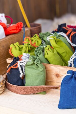 vertical pattern green cotton mini bag herbalist set counter