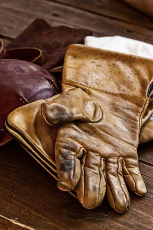 old leather gloves worn traditional close-up hunting protection Stock fotó