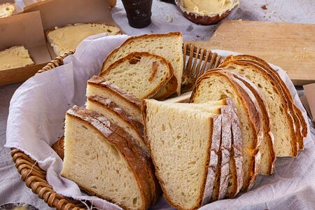 sliced bread basket fresh baked tasty multi bakery background