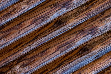 wooden background dark oblique logs weathered hard pattern base Stock fotó