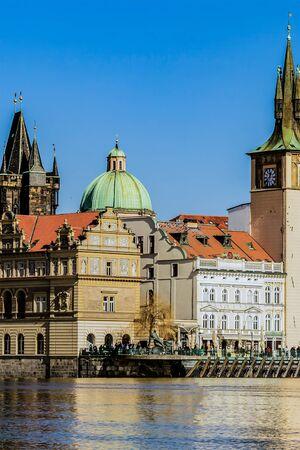 Prague Czech Republic March 2018. parliament historic castle prague mala country bank river vltava