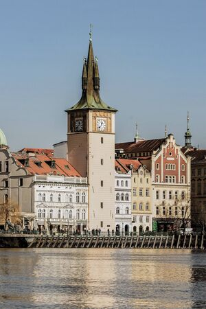 Czech Republic, Prague, March 2017. Vertical tower of the Charles Bridge embankment of the Vltava river central area of the city 에디토리얼