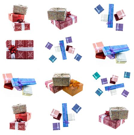 template holiday gift box red, orange and blue ribbons long and square on an isolated background 版權商用圖片