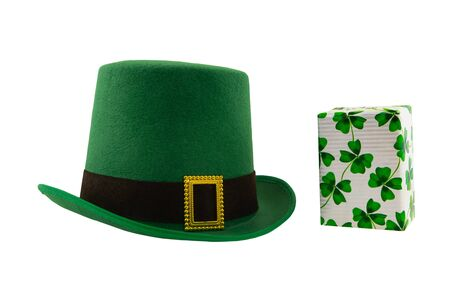 st patrick hat green and gift box with clover set on isolated festive design background