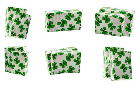 st patricks gift box in festive paper with clover pattern on isolated background
