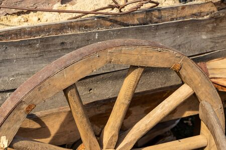 wheel wooden spokes bulk carts traditional movement rustic old old weathered