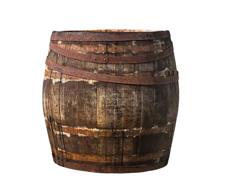oak barrel old cracked rusty hoops winemaking extract whiskey isolated background