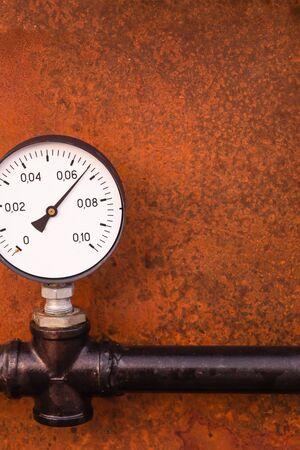engineering background base pressure gauge indicator vertical photo rusty iron base