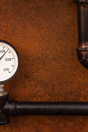 pressure gauge measurement part copy space engineering background base rusty iron copy space