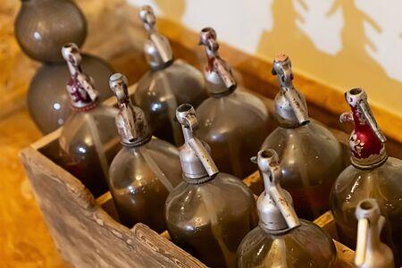 siphon glass vessel for gasification of beverages. Making soda drink set decor
