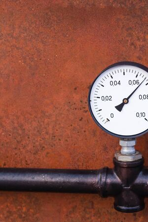 gauge pressure measurement system of gas supply closeup iron background