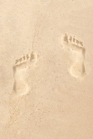 pair of footprints in the sand vertical pattern design tropical island