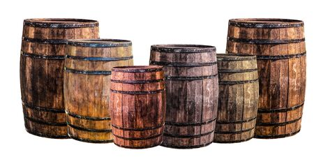 oak barrels stand upright for aging alcoholic beverages to give aroma and softness