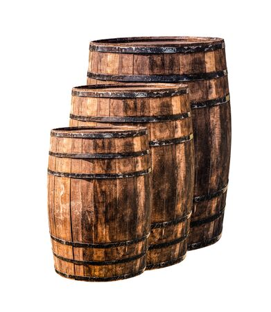 row of oak barrels from small to large on an isolated background