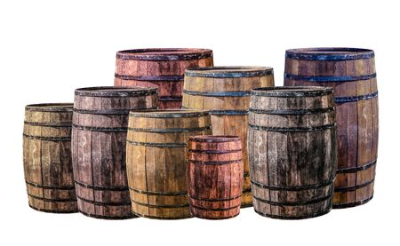 barrel group dark brown and gray set large and small stands vertical for winemaking