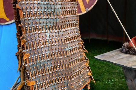 leather protection with iron plates pattern army, protection of the roman warrior