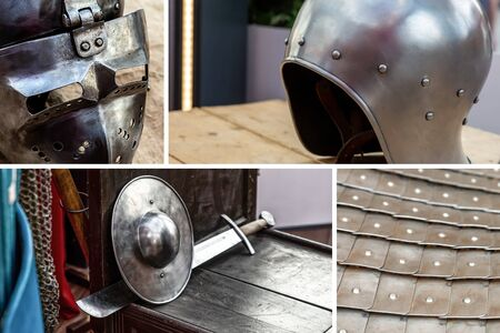 set military ammunition war and weapons, composition of an iron helmet and armor, shield and sword Stok Fotoğraf
