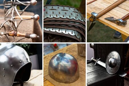 collage weapons and ammunition medieval warrior assorted six blocks contains armor, helmet and weapon Stok Fotoğraf