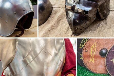 collage ammunition medieval warrior set chain mail cuirass, helmet with visor and shield
