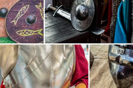 pattern collage weapons and protection of a medieval warrior, red shield, iron breastplate plate and helmet with a mask Stok Fotoğraf